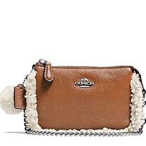 Coach Shearling / Leather Convertible Wristlet